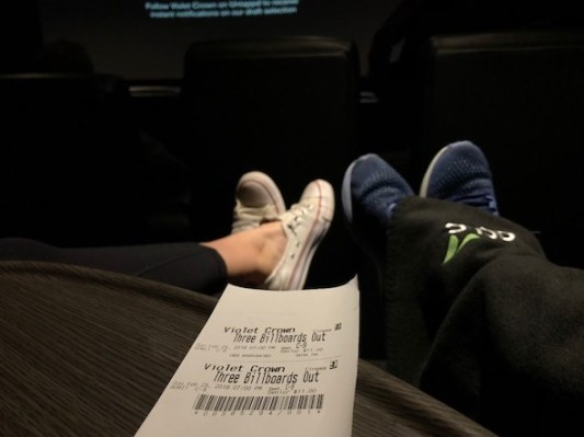 Theater with recliners... and we took our blankets!