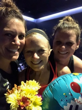 Early morning birthday cycle class with my girls!
