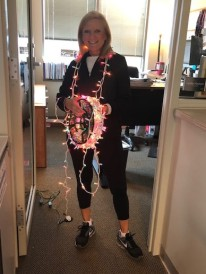 Oh I love Christmas lights...yes I decorate my office!