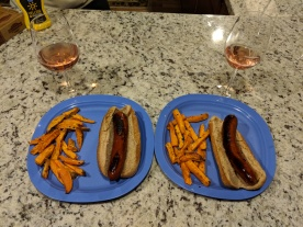 Nothing like a dinner of dogs, fries, and wine!