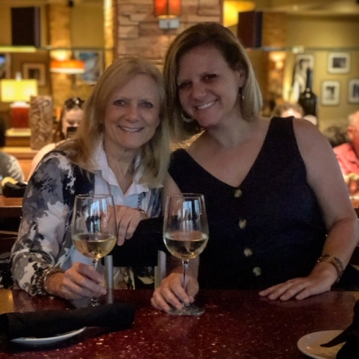 Pre-movie wine and apps with my girl!