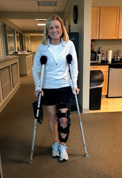 Last morning on crutches!