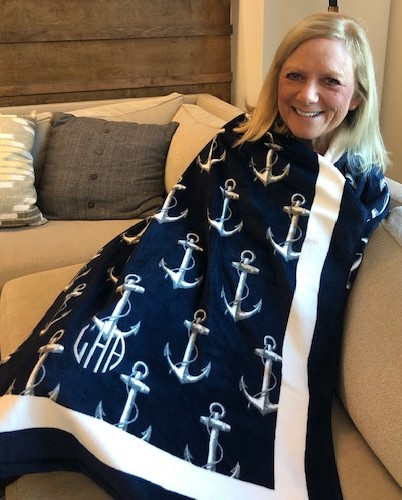 I am anchored in my new beach towel - see my new initials?!