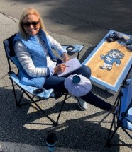 Icing the knee and blocking the corn hole!