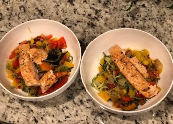 Dinner is served... salmon over zoodles and vegies!